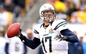 December 9, 2012; Pittsburgh, PA, USA; San Diego Chargers quarterback Philip Rivers (17) passes against the Pittsburgh Steelers during the second quarter at Heinz Field. The San Diego Chargers won 34-24. Mandatory Credit: Charles LeClaire-USA TODAY Sports